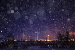 Polar lights in village Royalty Free Stock Image