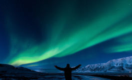 Polar Northern lights in Norway Stock Image
