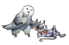 The polar owl and mouse Stock Photography