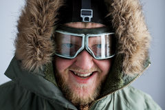 Polar pulled over in the face with glasses. And a hood Royalty Free Stock Photos