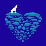 Polar refiera una masa de hielo flotante de hielo Corazón del ejemplo del hielo en el tema del amor, de la soledad o del ambiente Imagen de archivo