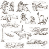 Polar Regions: Travel around the World. Freehand drawings. Royalty Free Stock Images