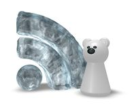 Polar rss. Frozen rss symbol and polar bear - 3d illustration Stock Images