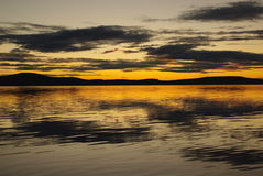 polar sommarsolnedgång Royaltyfri Fotografi