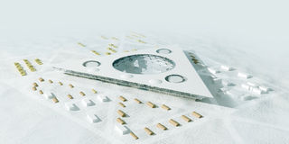 Polar station aerial view, 3d render. 3d render of a polar station vector illustration