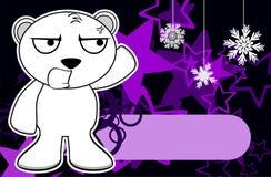 Polar teddy bear cartoon xmas background1 Royalty Free Stock Photography