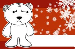 Polar teddy bear cartoon xmas background2 Royalty Free Stock Images