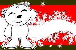 Polar teddy bear cartoon xmas background3 Royalty Free Stock Photo