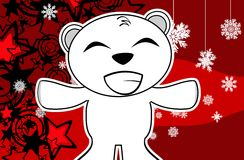 Polar teddy bear cartoon xmas background6 Royalty Free Stock Photo