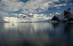 Polar twilight: Glaciated moun Stock Image