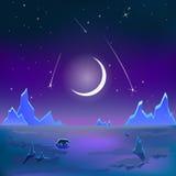 Polar vektor för himmel för natt för tundralandskapmåne Arkivbild