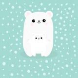 Polar vit liten liten björngröngöling Nå för en kram Gullig symbol för tecknad filmtecken behandla som ett barn krama modern Arkt royaltyfri illustrationer