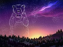 Polar white bear on full of stars galaxy sky. Fantasy winter landscape at night.Christmas and New Year theme. Royalty Free Stock Photo