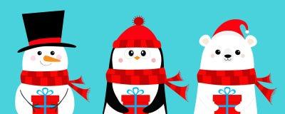 Polar white bear, penguin, snowman holding gift box. Hat, scarf. Cute cartoon baby character set. Happy New Year. Merry Christmas. Arctic animal. Flat design vector illustration