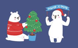 Polar white bear vector animal cute beauty character funny style pose celebrate Xmas Christmas holiday or New Year time Royalty Free Stock Image