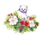 Polar white bear, winter flowers, fir tree, christmas mistletoe. Watercolor Royalty Free Stock Photo