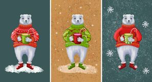 New year and christmas bears royalty free illustration