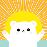 Polar white small little bear cub. Reaching for a hug. Cute cartoon baby character. Open hand ready for a hugging. Arctic animal. Stock Image