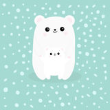 Polar white small little bear cub. Reaching for a hug. Cute cartoon character icon. Mother hugging baby. Arctic animal collection. Stock Photos