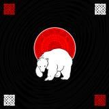 Polar wite bear on iceberg. White polar bear and etno ornaments Royalty Free Stock Photos