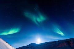 Polara nordliga ljus i Norge Fotografering för Bildbyråer
