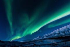 Polara nordliga ljus i Norge Arkivbilder