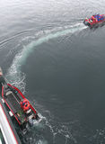 Polare Landungboote, die Reiseflugtouristen übersetzen Lizenzfreie Stockbilder