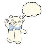 polarer Teddybär der netten Karikatur mit Gedankenblase Stockbild