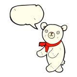 polarer Teddybär der netten Karikatur mit Spracheblase Stockfotos