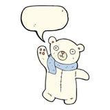 polarer Teddybär der netten Karikatur mit Spracheblase Stockfoto