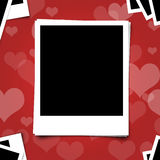 Polariod photo frame on heart red background Royalty Free Stock Photos