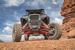 Polaris RZR ATV on Chicken Corner 4WD trail near Moab. MOAB, UT, USA - MAY 7, 2017: Polaris RZR ATV on a popular Chicken Corner 4WD trail in the Moab area Royalty Free Stock Images