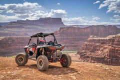Polaris RZR ATV on Chicken Corner 4WD trail near Moab. MOAB, UT, USA - MAY 7, 2017: Polaris RZR ATV on a popular Chicken Corner 4WD trail in the Moab area Royalty Free Stock Image