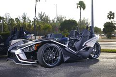 Polaris Slingshot three wheel sports vehicle Royalty Free Stock Photos