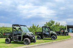 Polaris utility vehicle. Three army green Polaris ADC ranger utility vehicles Stock Photos