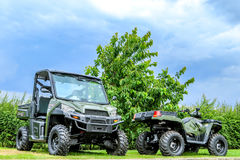 Polaris utility vehicle. Two army green Polaris ADC ranger utility vehicles Stock Photography