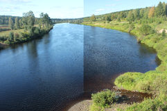 Polarization Effect. Effect of a polarization filter on colors, reflections and brightness of a scene (Vaesterdalaelven in Saelen, Dalarna, Sweden). Left Royalty Free Stock Image