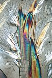 Polarized Light makes Colors gleam. A crystal of coppersulphate mixed with crystals of citric acid seen through the microscope 100fold, in polarized light stock image