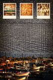 Polaroid- beelden die visindustrie afschilderen Stock Afbeeldingen