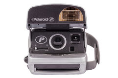 Polaroid Camera. ABERFELDY, SCOTLAND - MARCH 16, 2014: Silver Polaroid P-CAM 600 camera for instant photos from the year 1990-2000 Royalty Free Stock Images