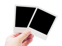 Polaroid card in hand Stock Image