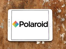 Polaroid Corporation logo. Logo of Polaroid Corporation on samsung tablet. Polaroid is an American company that is a brand licensor and marketer of its portfolio Royalty Free Stock Photos