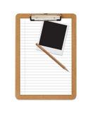 Polaroid della matita del documento regolato dei appunti del banco Fotografia Stock