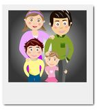 Polaroid family portrait. Illustration of a polaroid that depicts a portrait of a happy family Royalty Free Stock Images