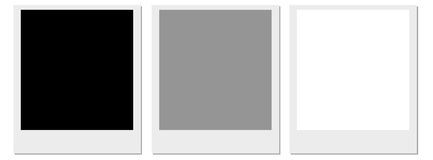 Polaroid Film Frame. A set of three polaroids one with a black centre, one with a grey and the other with a white Royalty Free Stock Images