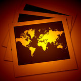 Polaroid film frames with map. 2D digital art Royalty Free Stock Images