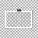 Polaroid- Fotokader met klem op grijze achtergrond Vectormalplaatje, spatie royalty-vrije illustratie