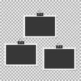 Polaroid- Fotokader met klem op grijze achtergrond Vectormalplaatje, spatie stock illustratie