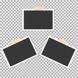 Polaroid- Fotokader met kleverige band op grijze achtergrond Malplaatje, spatie voor uw in foto stock illustratie