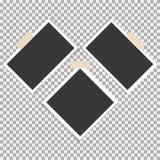 Polaroid- Fotokader met kleverige band op grijze achtergrond Malplaatje, spatie voor uw in foto vector illustratie